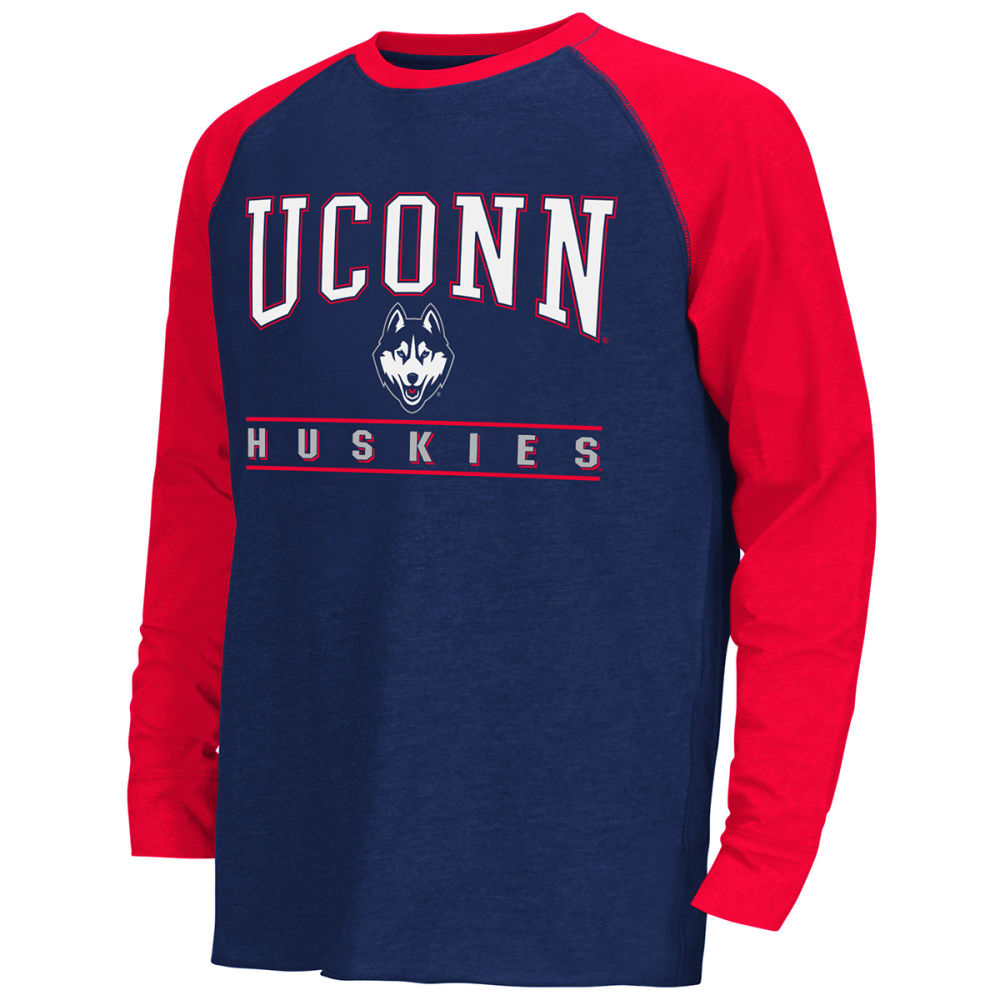UCONN HUSKIES Kids' Kryton Raglan Long-Sleeve Tee - NAVY/RED