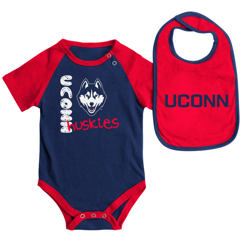 UCONN HUSKIES Infants' Rookie Onesie and Bib Set - NAVY/RED