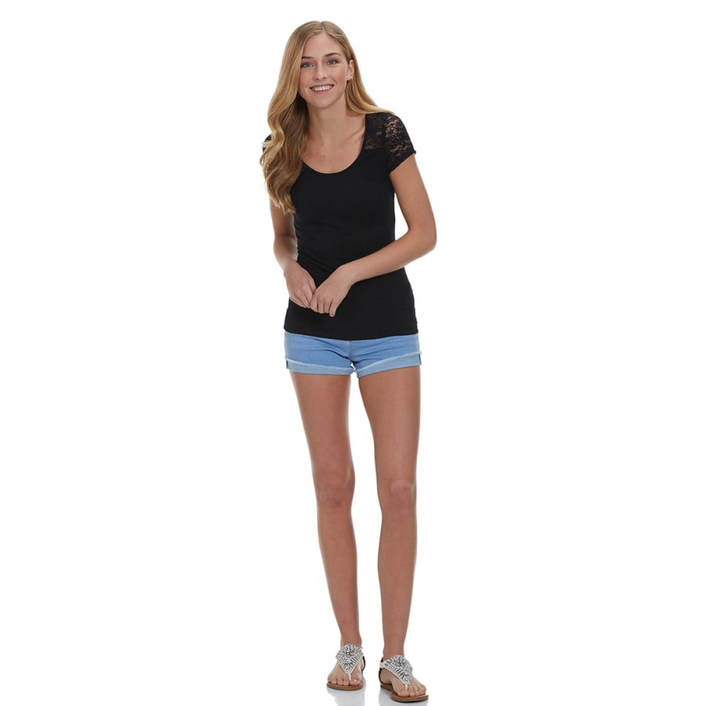 AMBIANCE APPAREL Juniors' Lace Cap Sleeve Top - BLACK