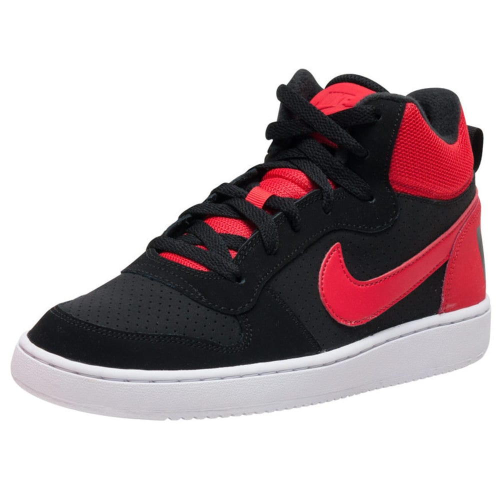 NIKE Big Boys' Court Borough Mid Basketball Shoes - BLACK