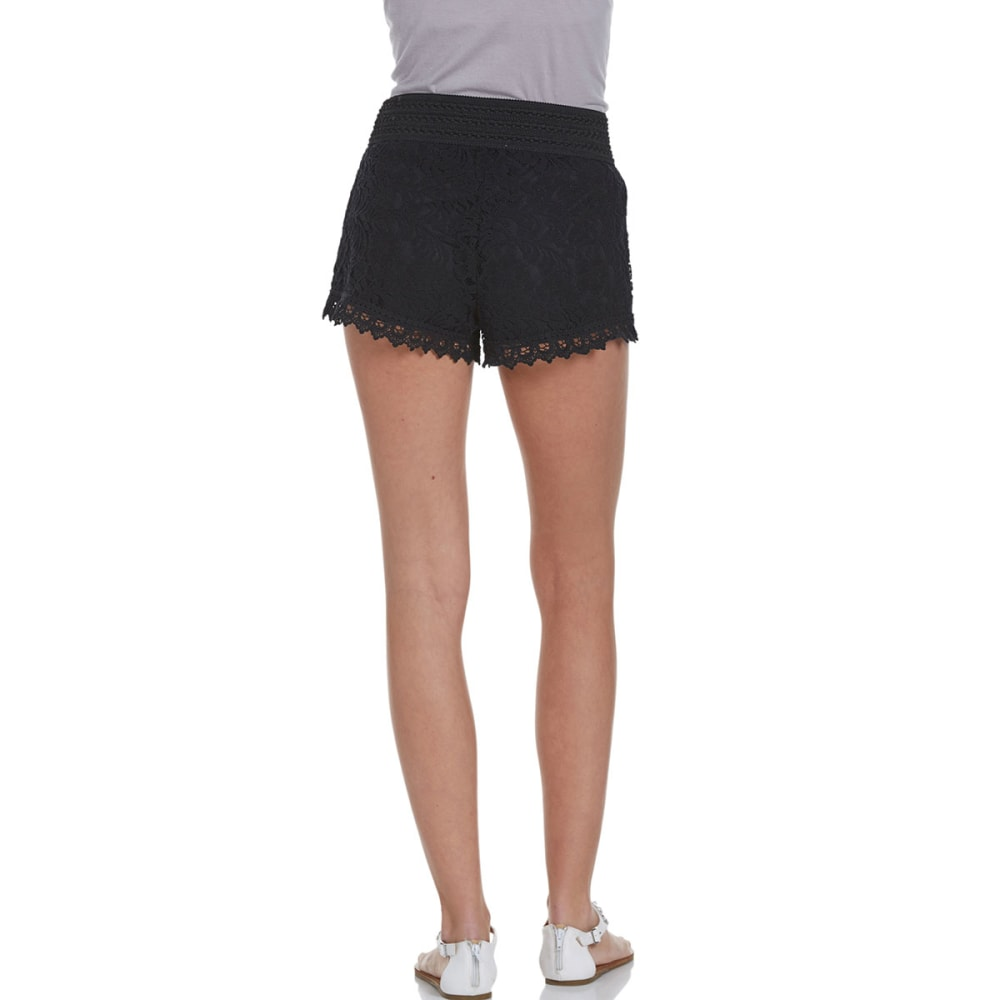 AMBIANCE APPAREL Juniors' Elastic Waist Lace Shorts - BLACK