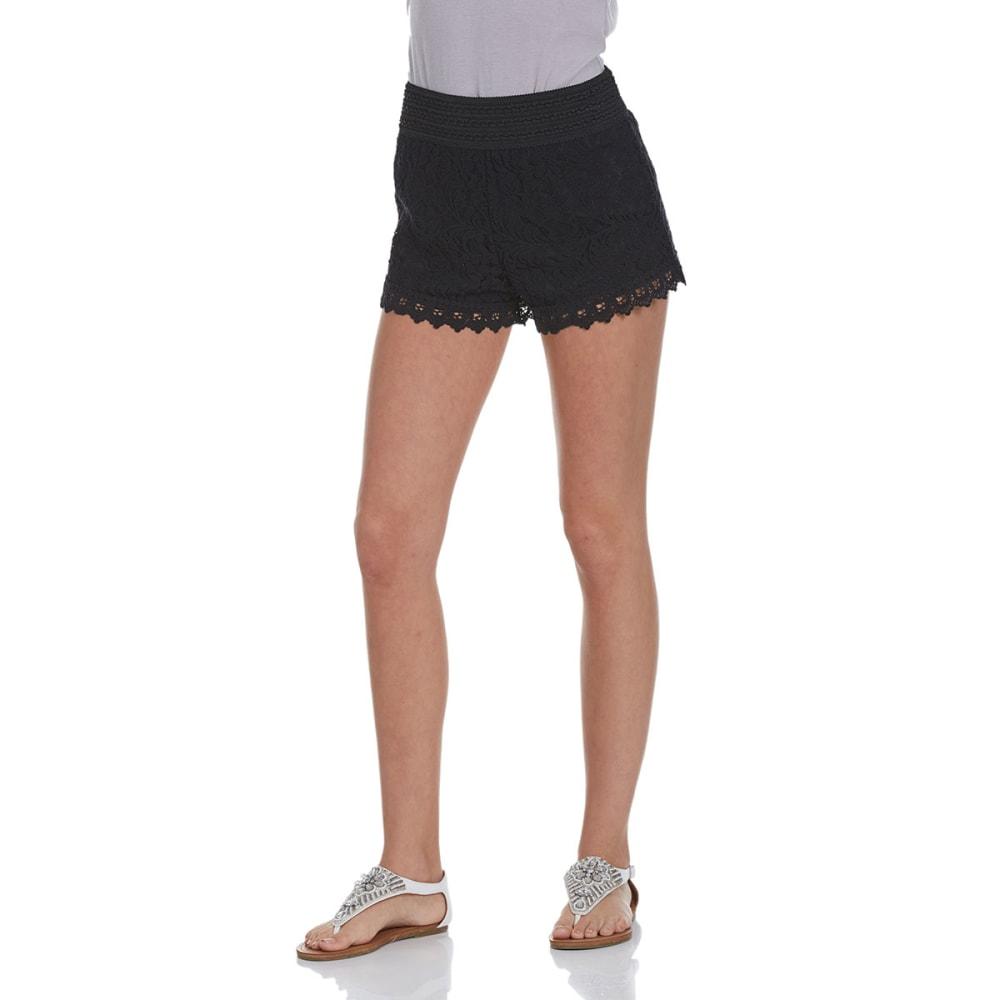 AMBIANCE APPAREL Juniors' Elastic Waist Lace Shorts - BLACK