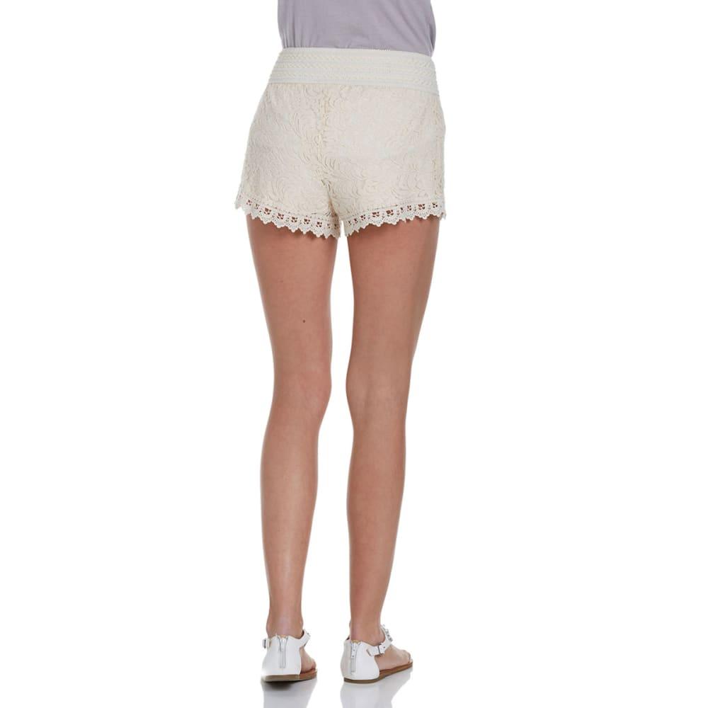 AMBIANCE APPAREL Juniors' Elastic Waist Lace Shorts - NATURAL