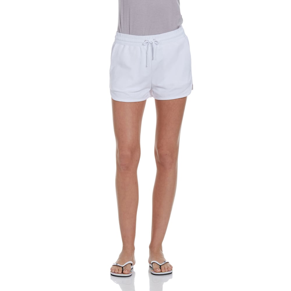 AMBIANCE APPAREL Juniors' High Waisted Knit Shorts - WHITE