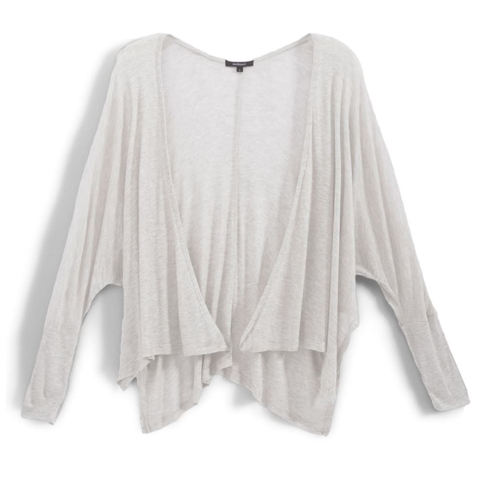 AMBIANCE APPAREL Juniors' Boxy Rib Cardigan with Side Slit - OFF WHITE
