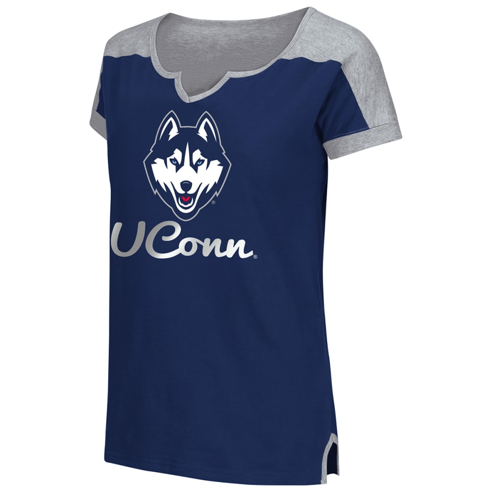 UCONN Women's V-Notch Tee - NAVY/CHARCOAL