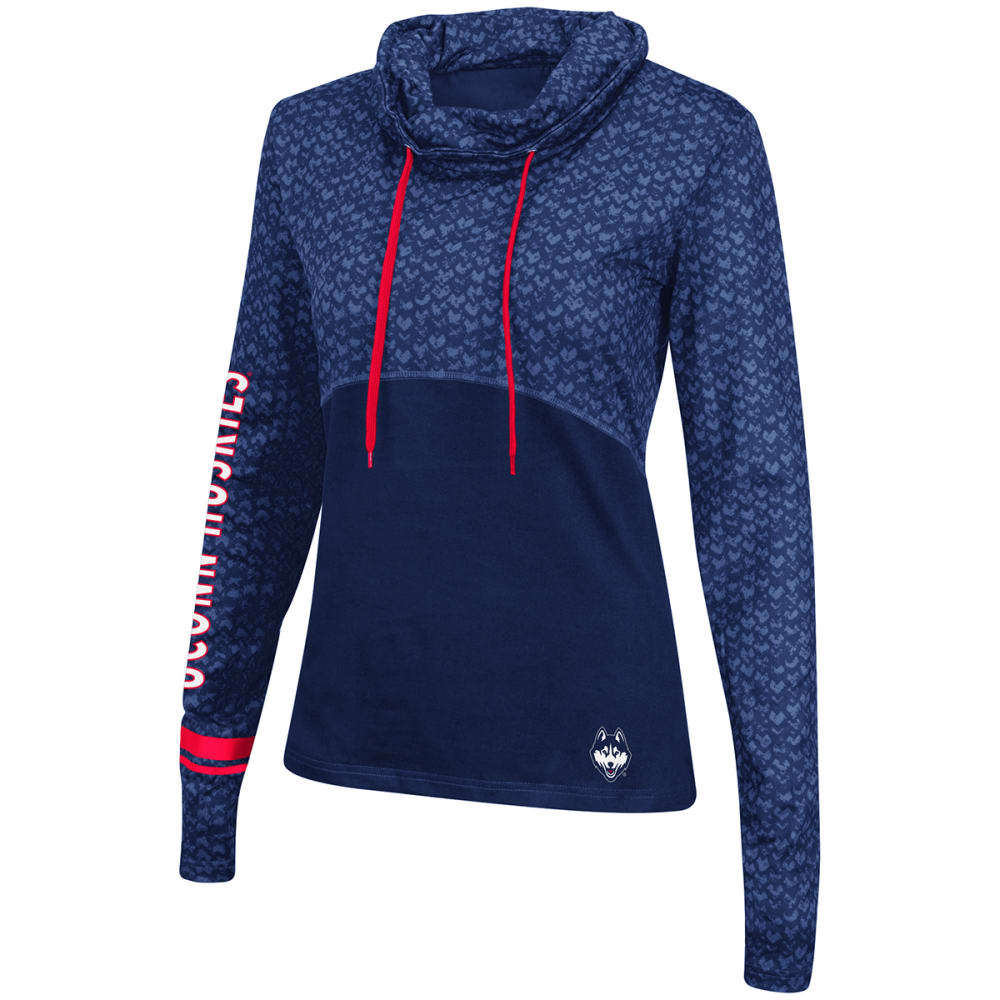 UCONN Women's Scaled Cowl Neck Pullover - NAVY