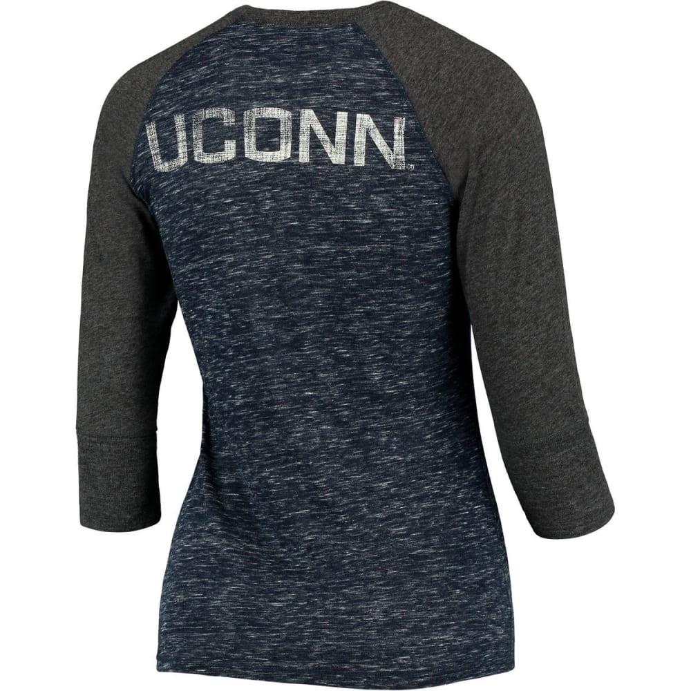 UCONN Women's Split Henley Long-Sleeve Shirt - NAVY/CHARCOAL