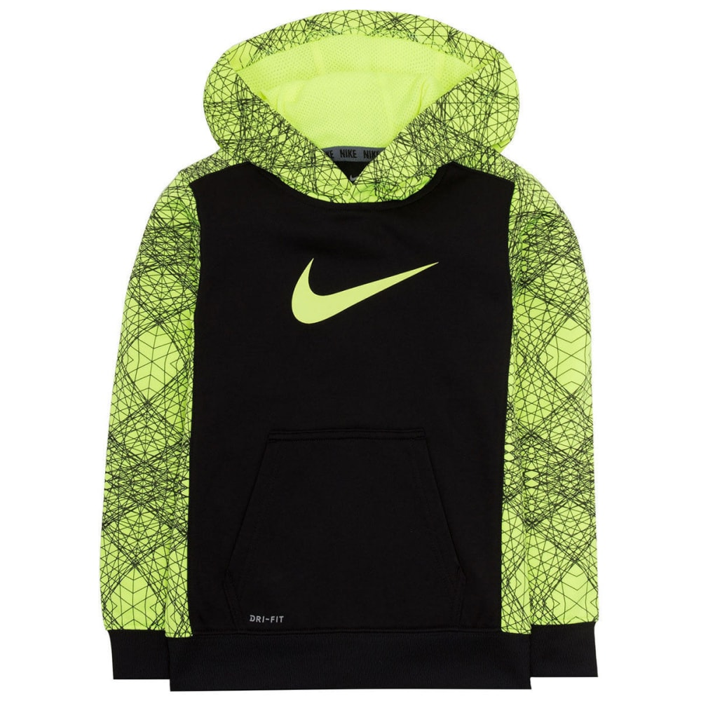 NIKE Little Boys' Therma-FIT Swoosh Print Hoodie - BLACK/VLT-KE4