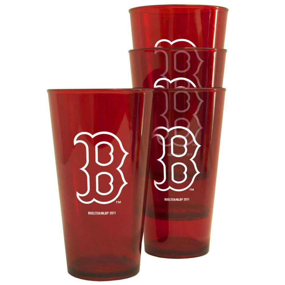 BOSTON RED SOX Plastic Pints, 4-Pack - RED