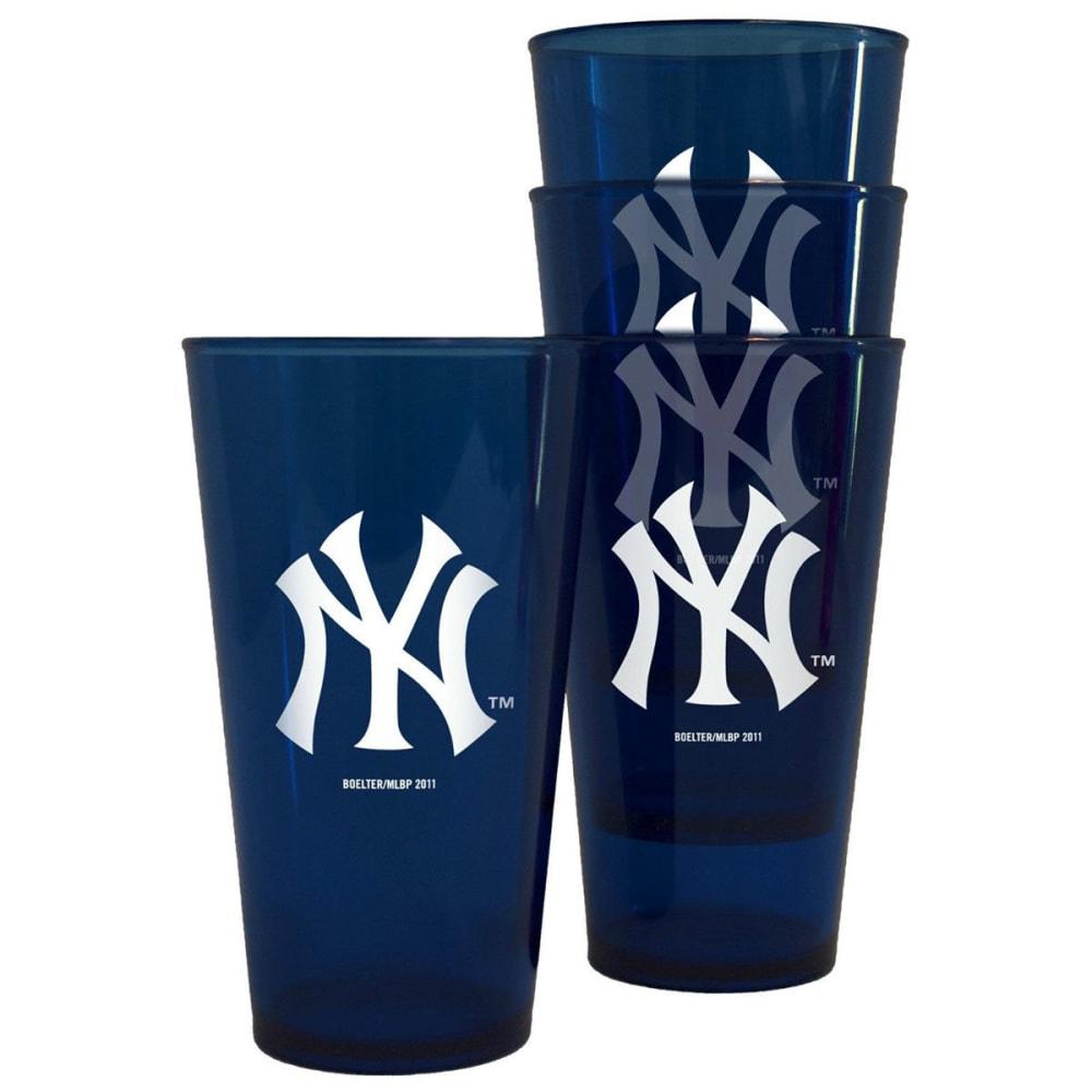 NEW YORK YANKEES Plastic Pints, 4-Pack - NAVY