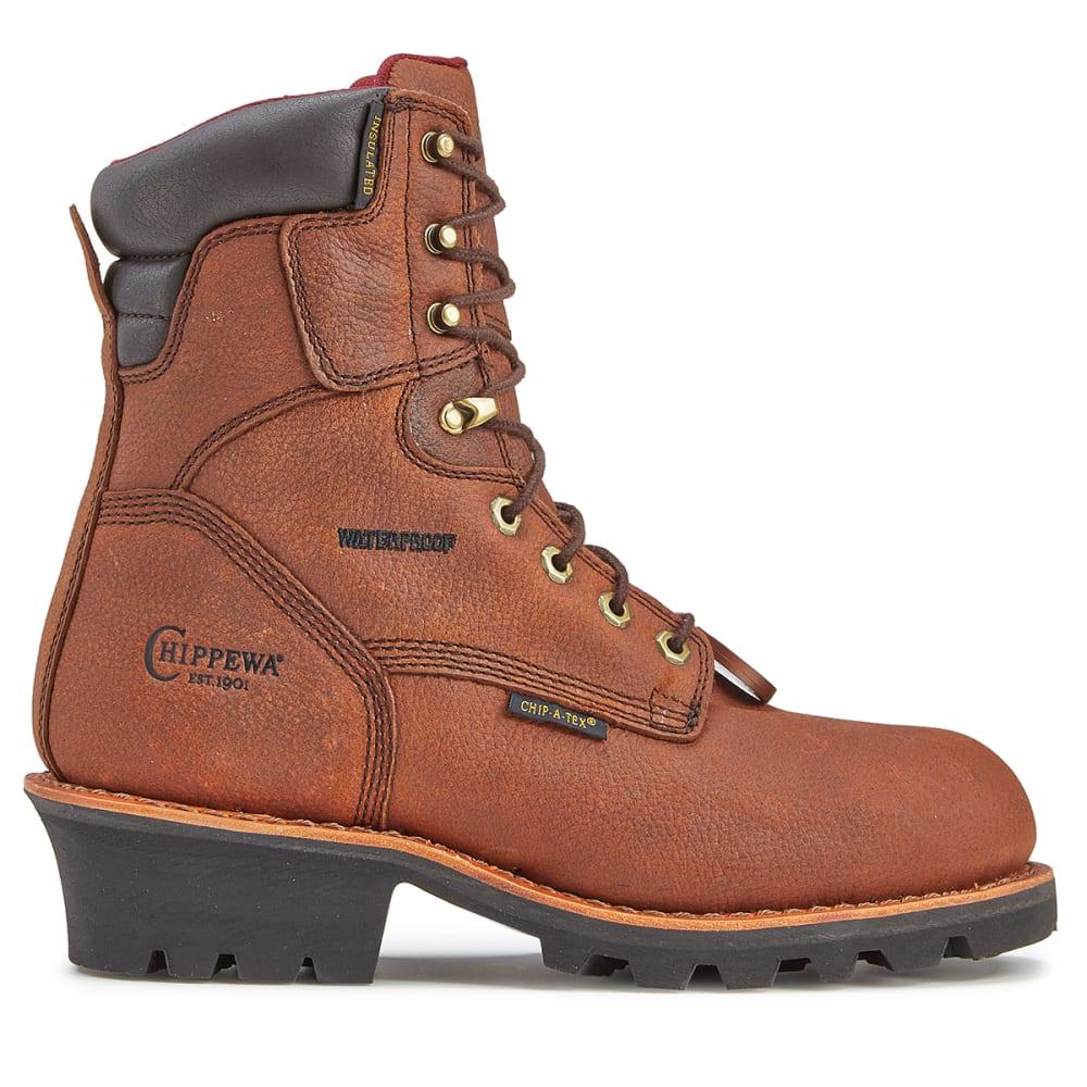 CHIPPEWA Men's 8 in. 99900 Pitstop Insulated Waterproof Steel Toe Logger Work Boots, Dark Brown, Wide - DARK BROWN