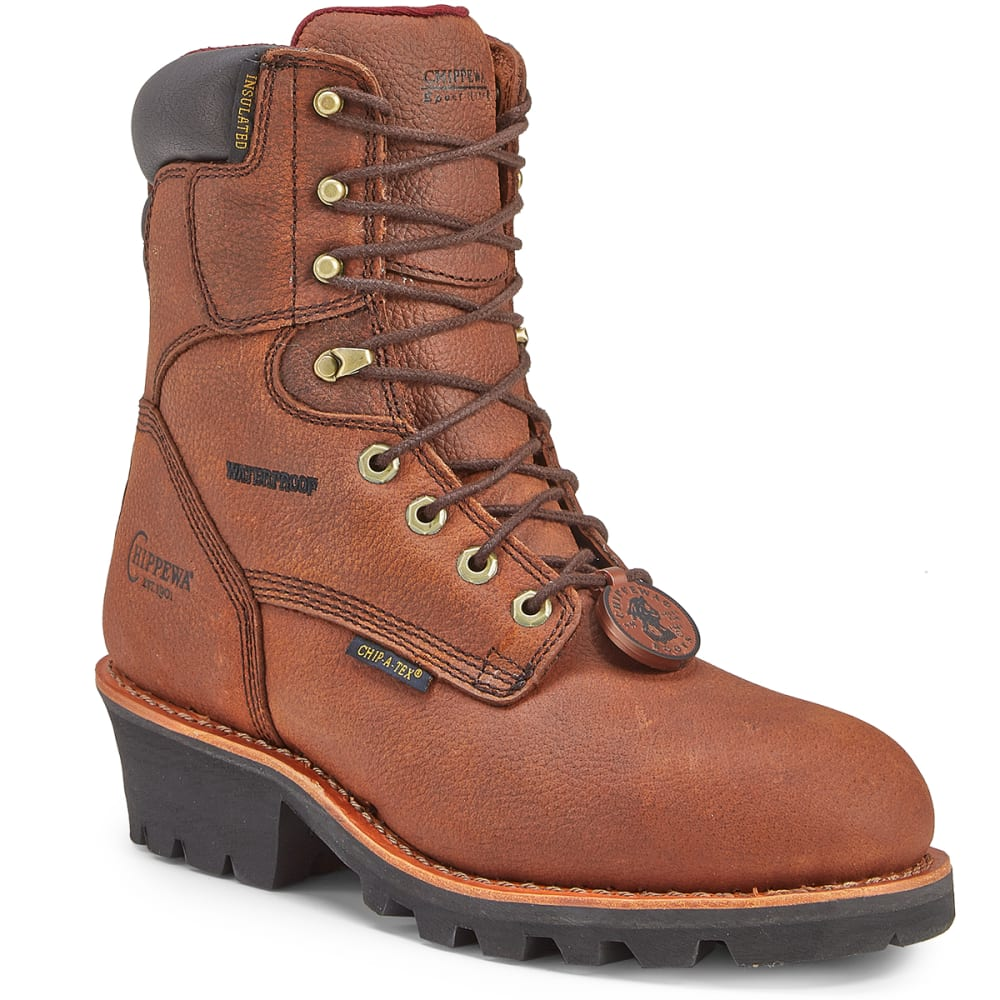 CHIPPEWA Men's 8 in. 99900 Pitstop Insulated Waterproof Steel Toe Logger Work Boots, Dark Brown, Wide - DARK BROWN