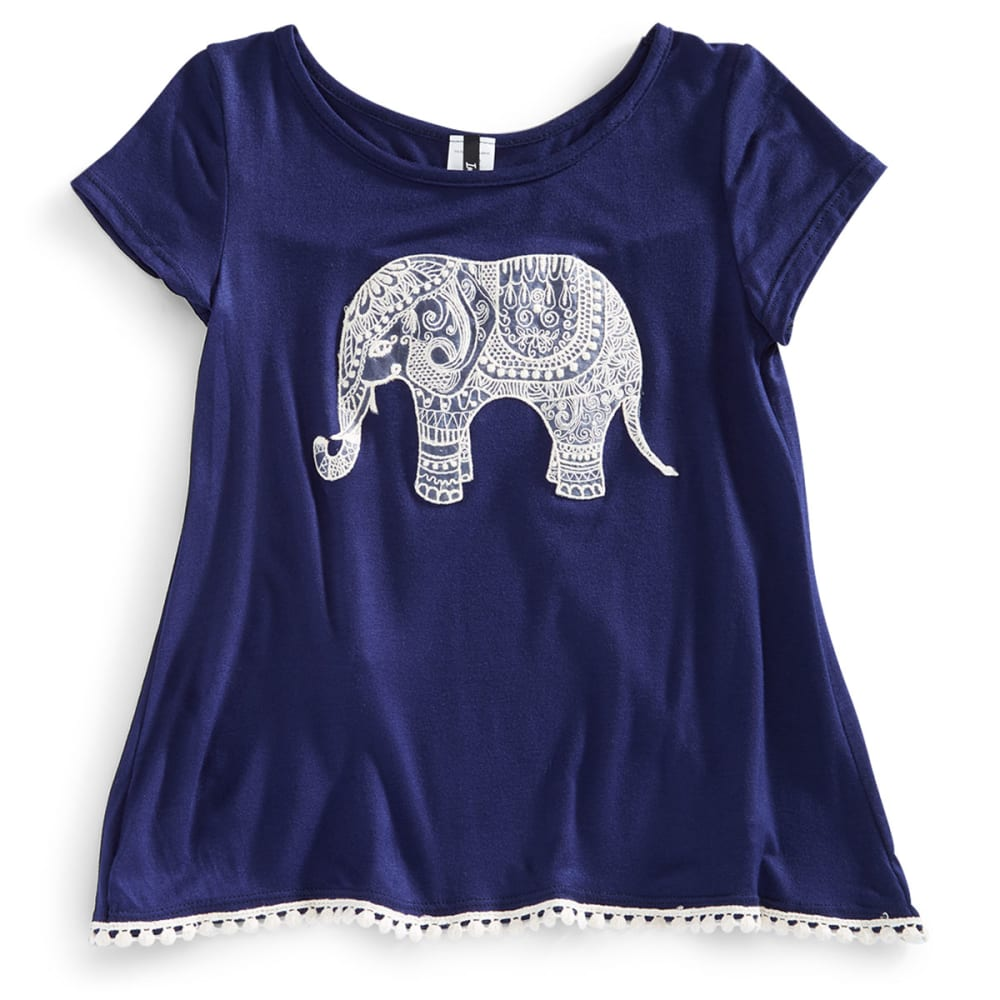INSTAGIRL Girls' Crochet Elephant Tulip Tee - NAVY