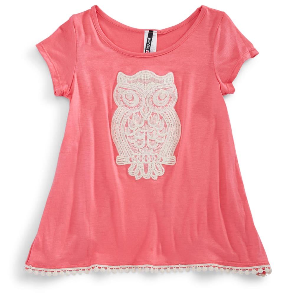INSTAGIRL Girls' Crochet Owl Tulip Tee - CORAL