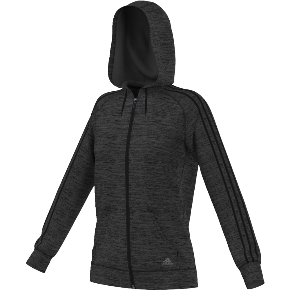 ADIDAS Women's Team Issue Three-Stripe Full-Zip Hoodie - BLK HTHR/BLK-AY7649