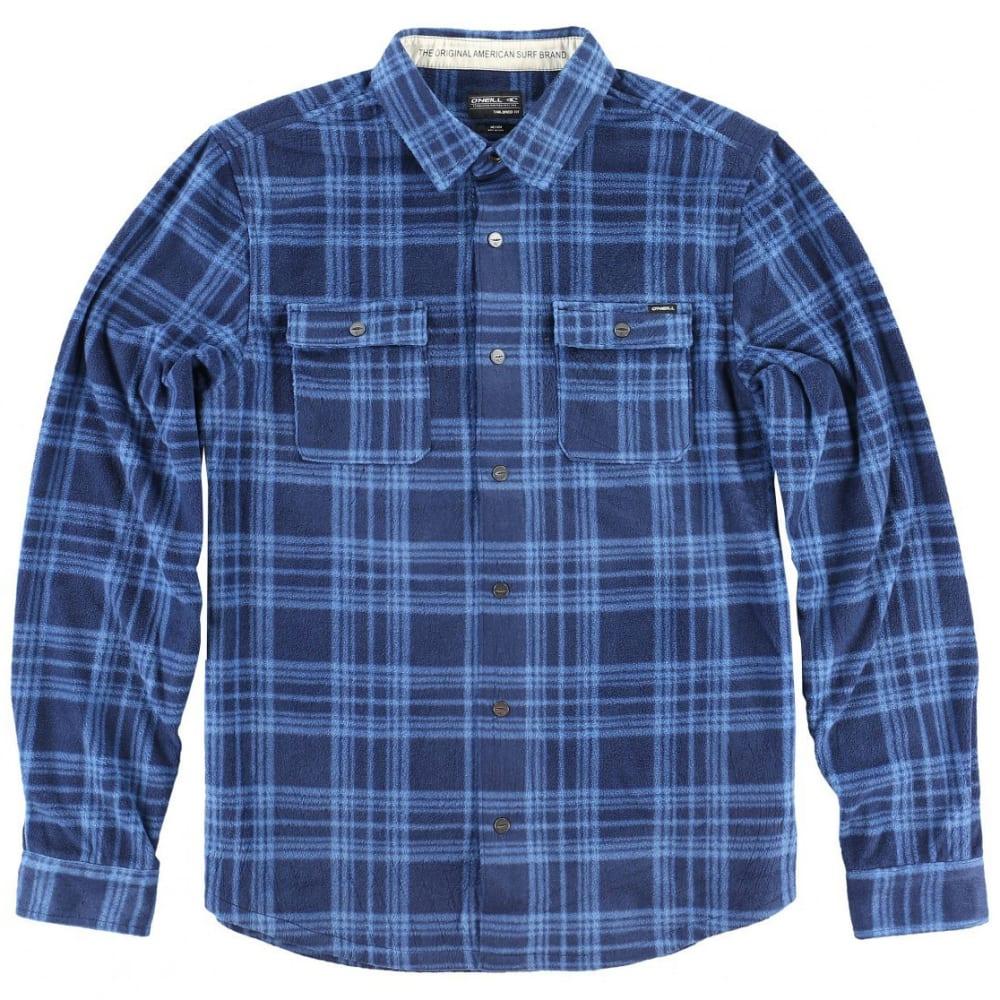 O'NEILL Guys' Glacier Plaid Long Sleeve Super Fleece Shirt - BLUE-BLU