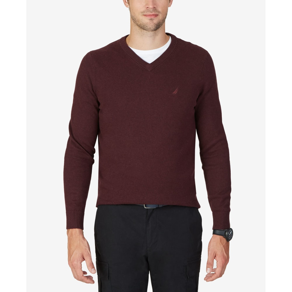 NAUTICA Men's Solid V-neck Sweater - BURGUNDY HEATHER-6TV