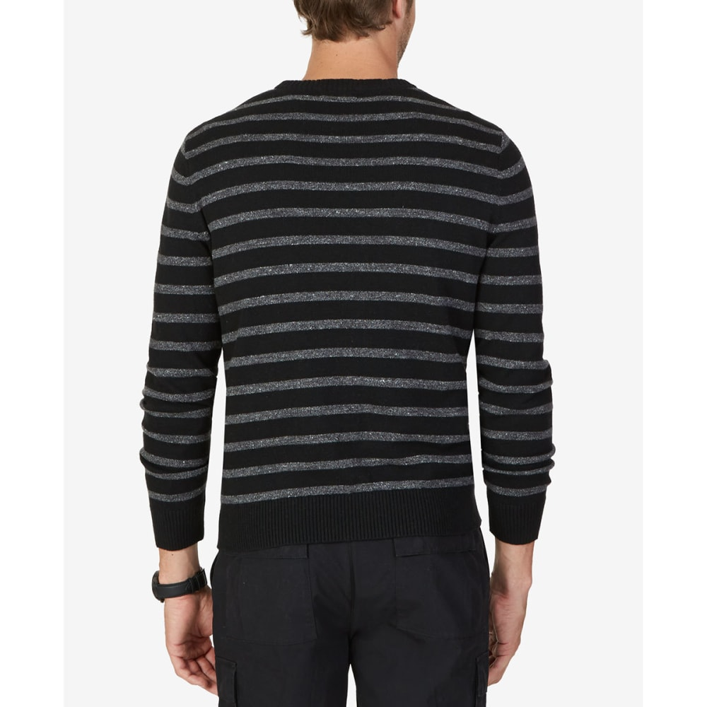 NAUTICA Men's Striped Crewneck Sweater - BLACK-OTB