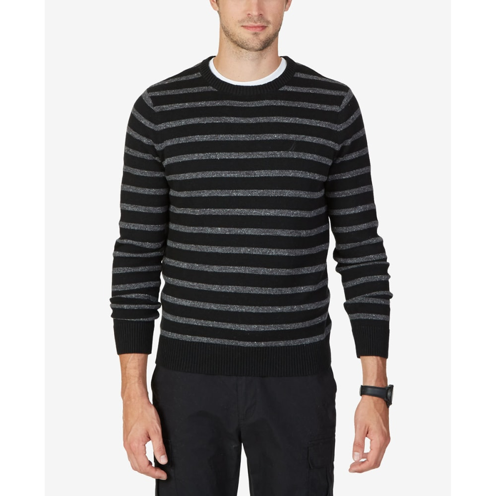 NAUTICA Men's Striped Crewneck Sweater - BLACK-OTB
