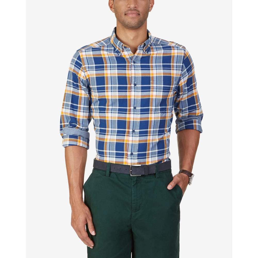 NAUTICA Men's Long Sleeve Woven Plaid Shirt - MARINE BLUE-4MB