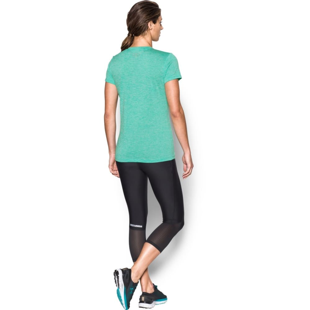 UNDER ARMOUR Women's Tech Twist V-Neck Tee - ABSINTHE GRN-190