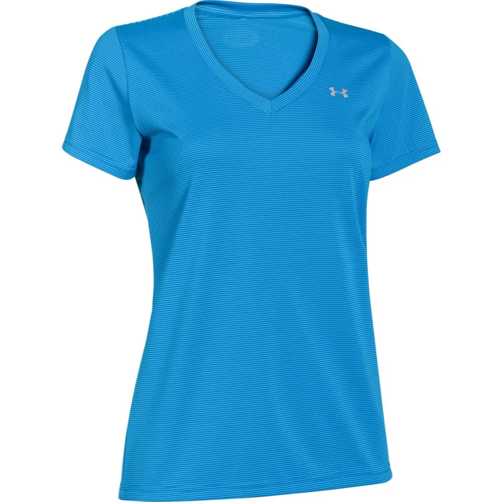 UNDER ARMOUR Women's Tech Twist V-Neck Tee - SNORKEL STRIPE-482