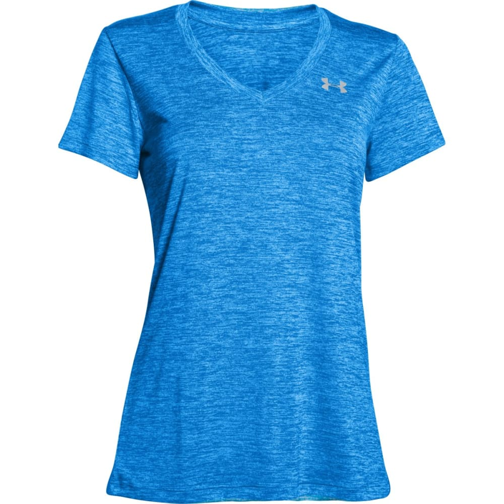 UNDER ARMOUR Women's Tech Twist V-Neck Tee - ELECTRIC BLUE-428