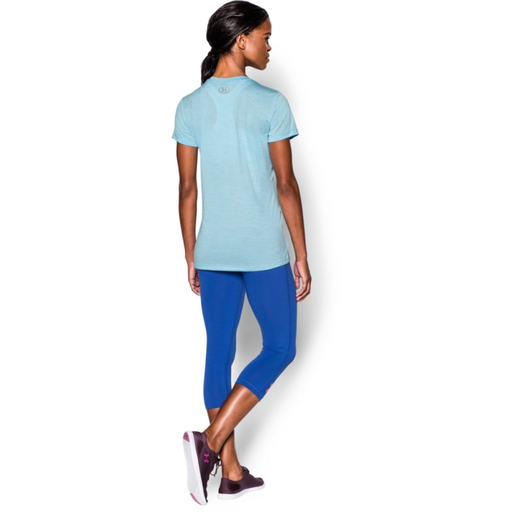 UNDER ARMOUR Women's Tech Twist V-Neck Tee - SKY BLUE-914