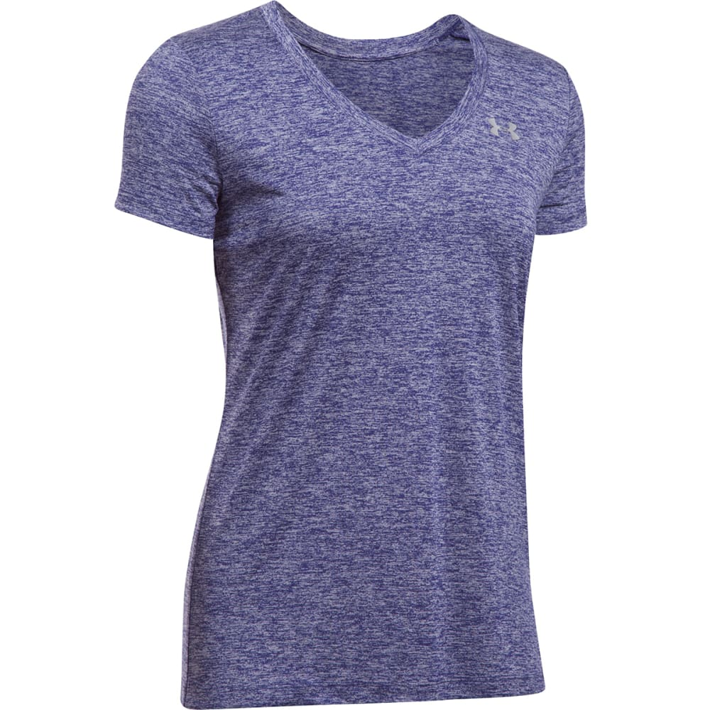 UNDER ARMOUR Women's Tech Twist V-Neck Tee - DARK PURPLE-542