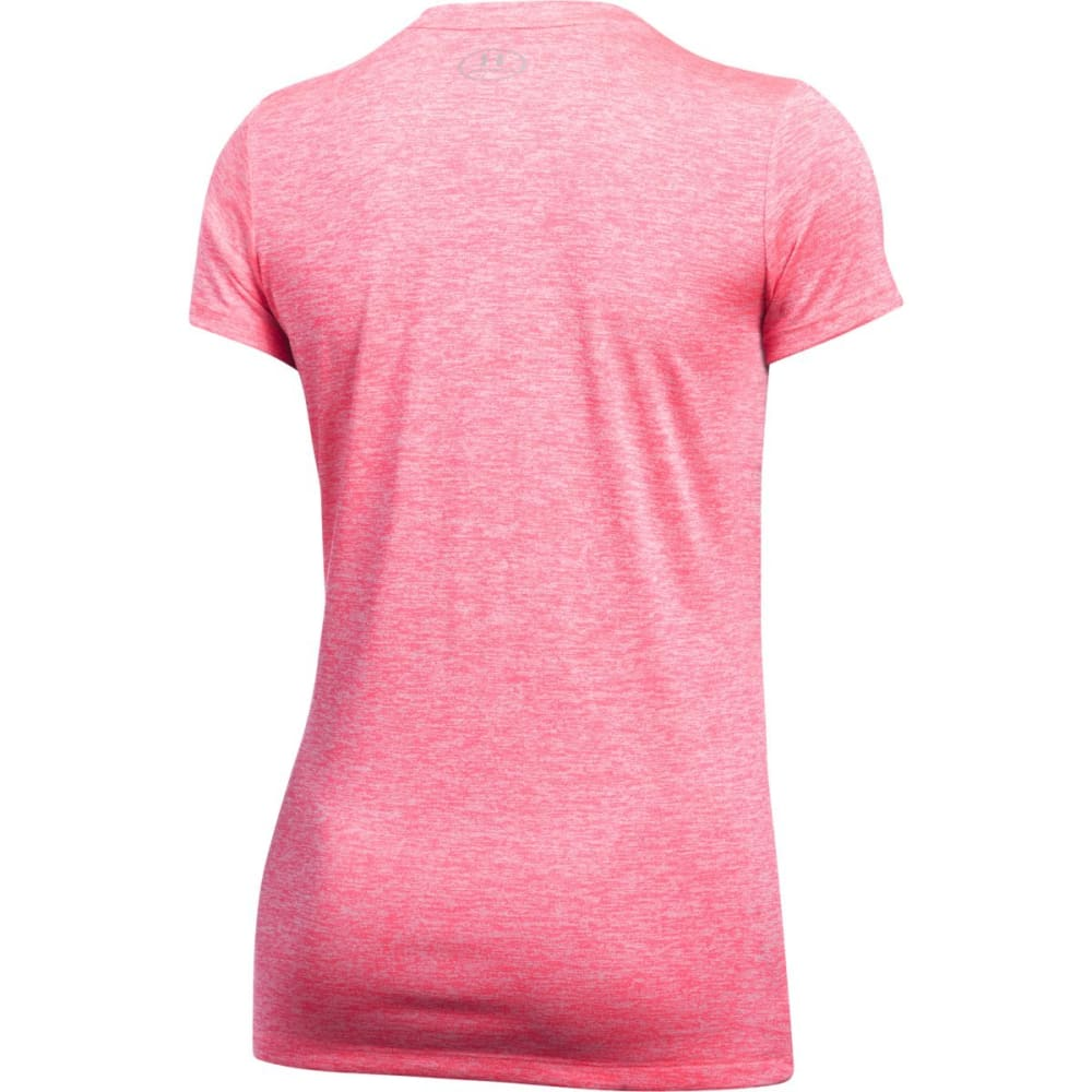 UNDER ARMOUR Women's Tech Twist V-Neck Tee - PINK SHOCK -684