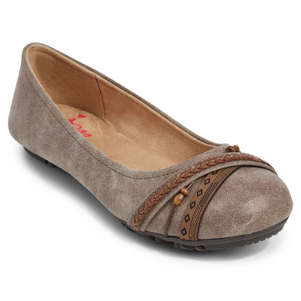 JELLYPOP Juniors' Distressed Braided Toe Ballet Flats - GREY