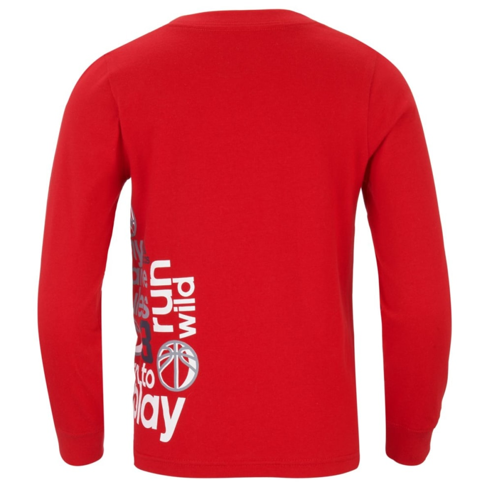 ADIDAS Boys' Linear Wrap Long-Sleeve Tee - LT SCARLET-AR57