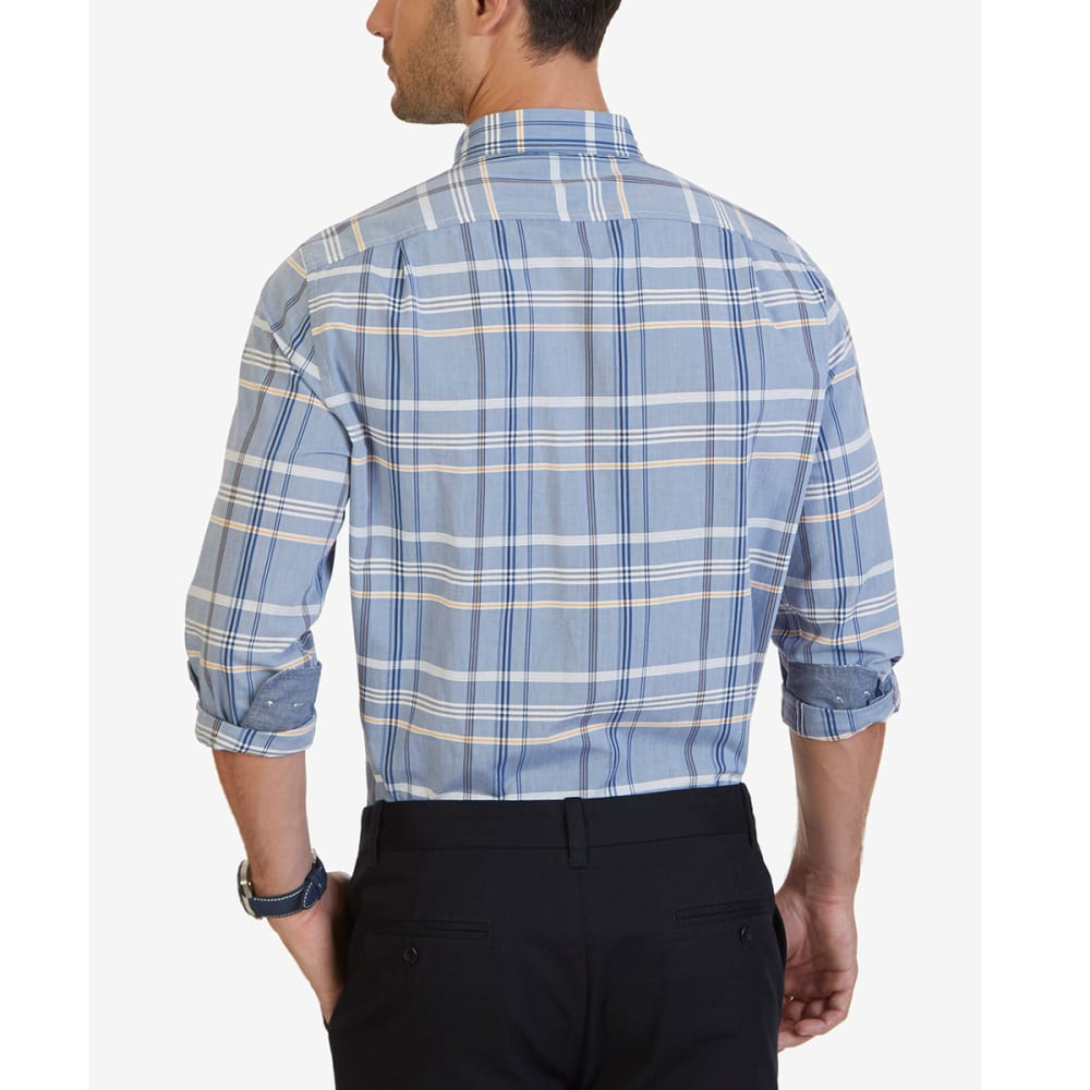 NAUTICA Men's Long Sleeve Woven Plaid Shirt - MARSHMALLOW-1MA