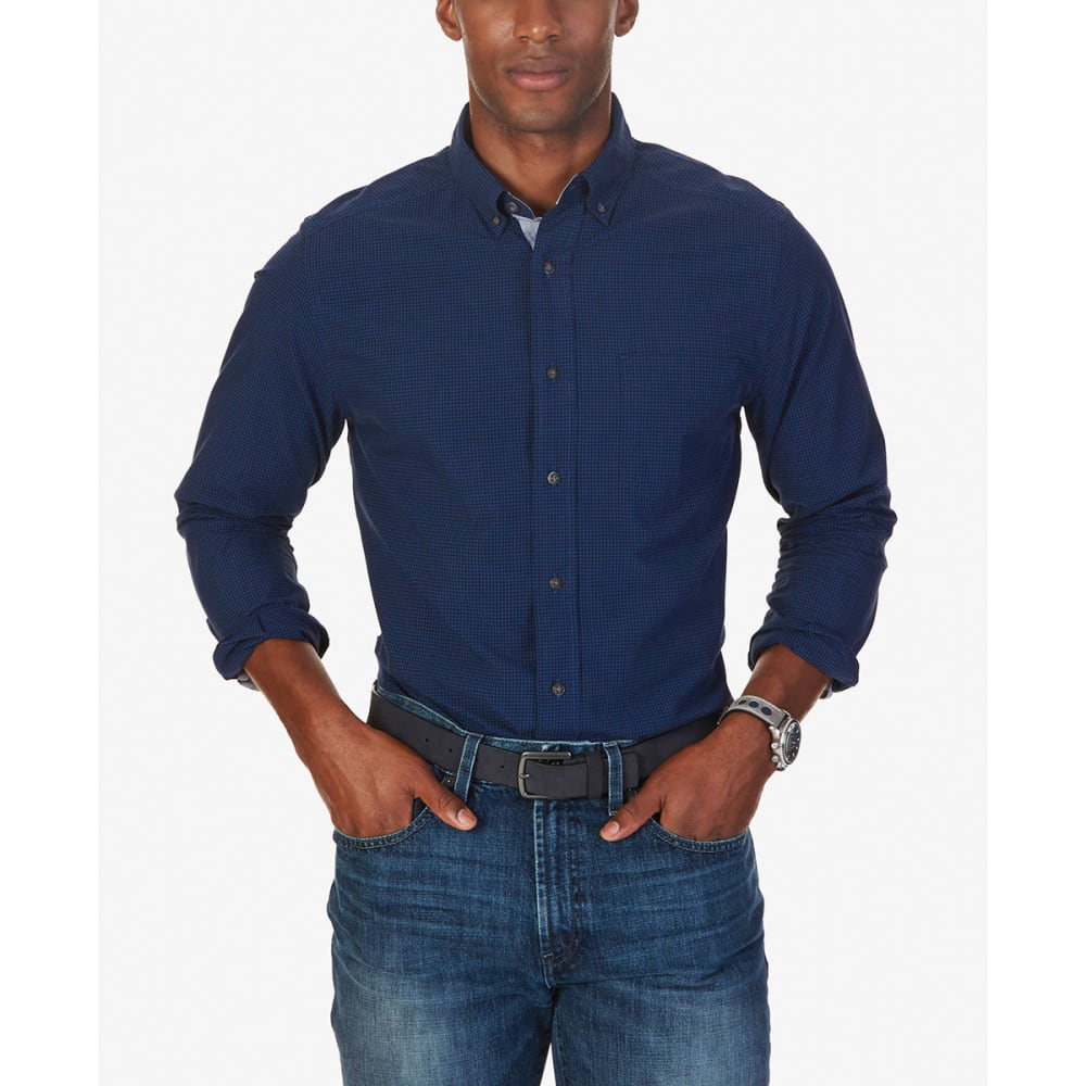 NAUTICA Men's Tonal Check Woven Long-Sleeve Shirt - ESTATE BLUE-4ES