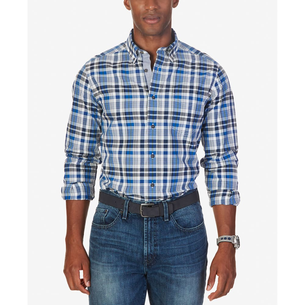 NAUTICA Men's Long Sleeve Woven Plaid Shirt - SEED PEARL-10B