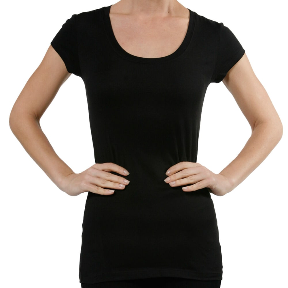 ACTIVE BASIC Juniors' Short-Sleeve Scoop Neck Tee- VALUE DEAL - BLK-BLACK