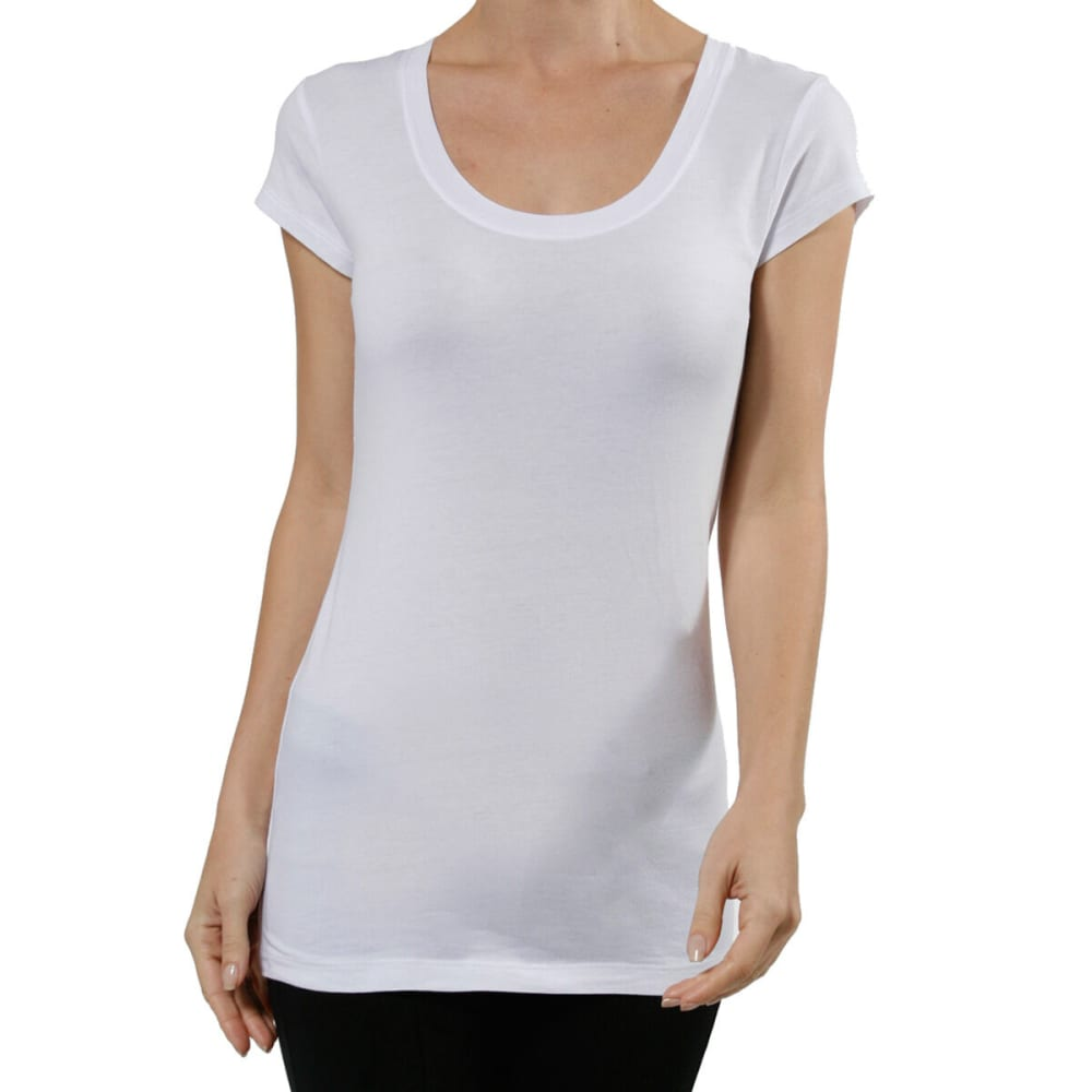 ACTIVE BASIC Juniors' Short-Sleeve Scoop Neck Tee- VALUE DEAL - WHT-WHITE