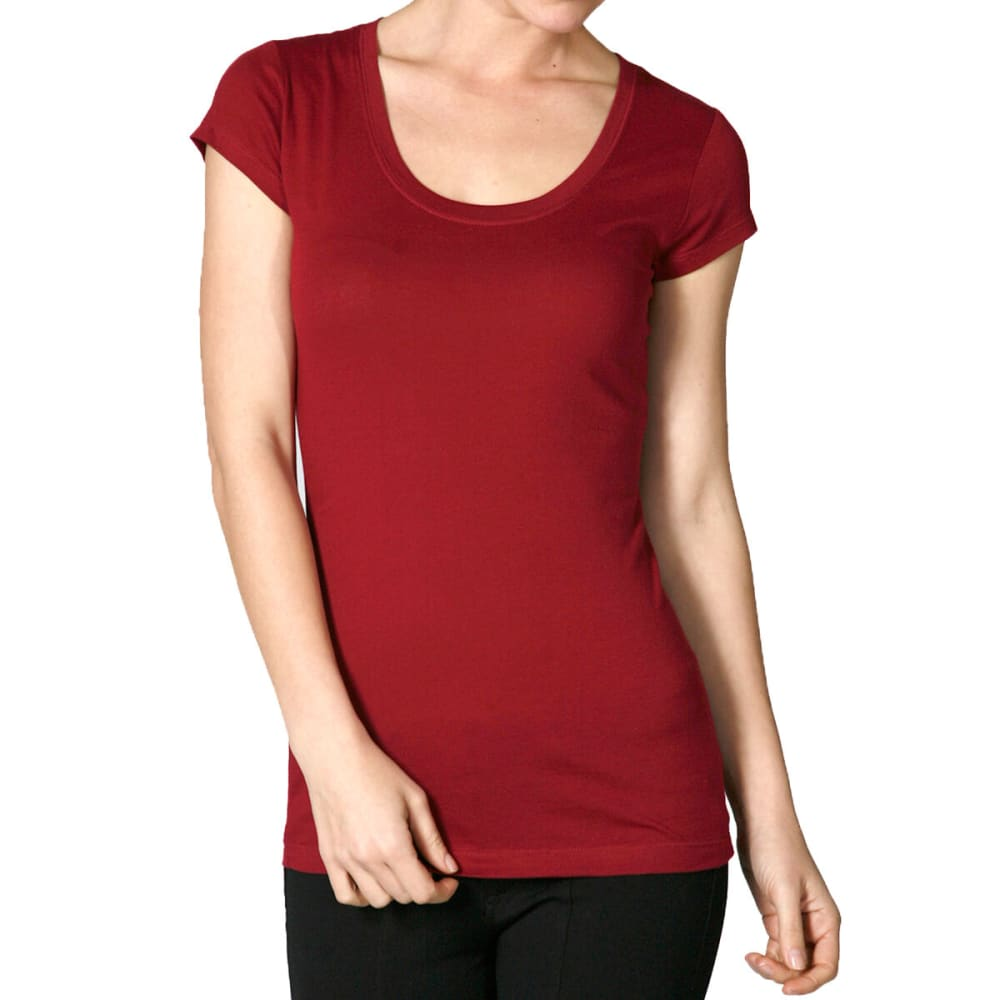 ACTIVE BASIC Juniors' Short-Sleeve Scoop Neck Tee- VALUE DEAL - BRG-WINE