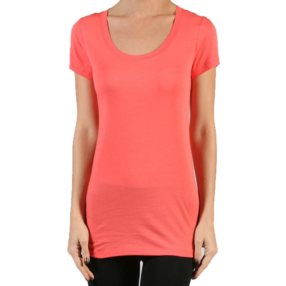 ACTIVE BASIC Juniors' Short-Sleeve Scoop Neck Tee- VALUE DEAL - CRL-N CORAL