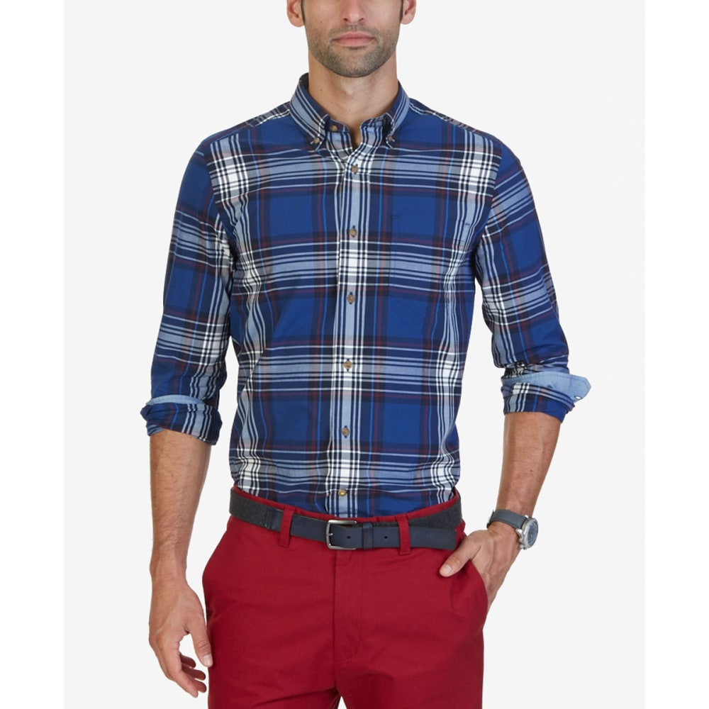 NAUTICA Men's Classic Fit Estate Plaid Long-Sleeve Shirt - ESTATE BLUE-4ES