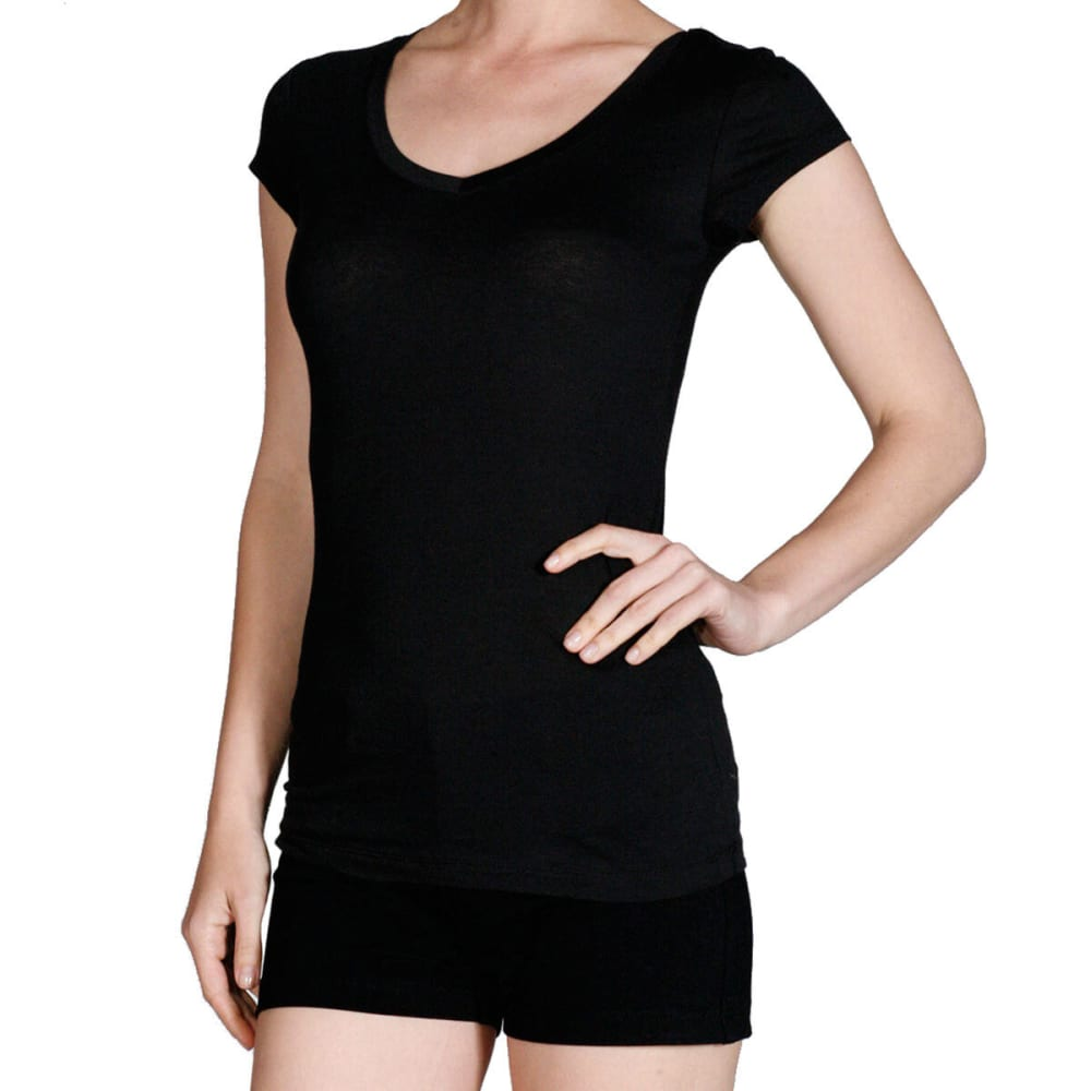ACTIVE BASIC Junior's Plain Basic Deep V Neck T-Shirt - BLK-BLACK