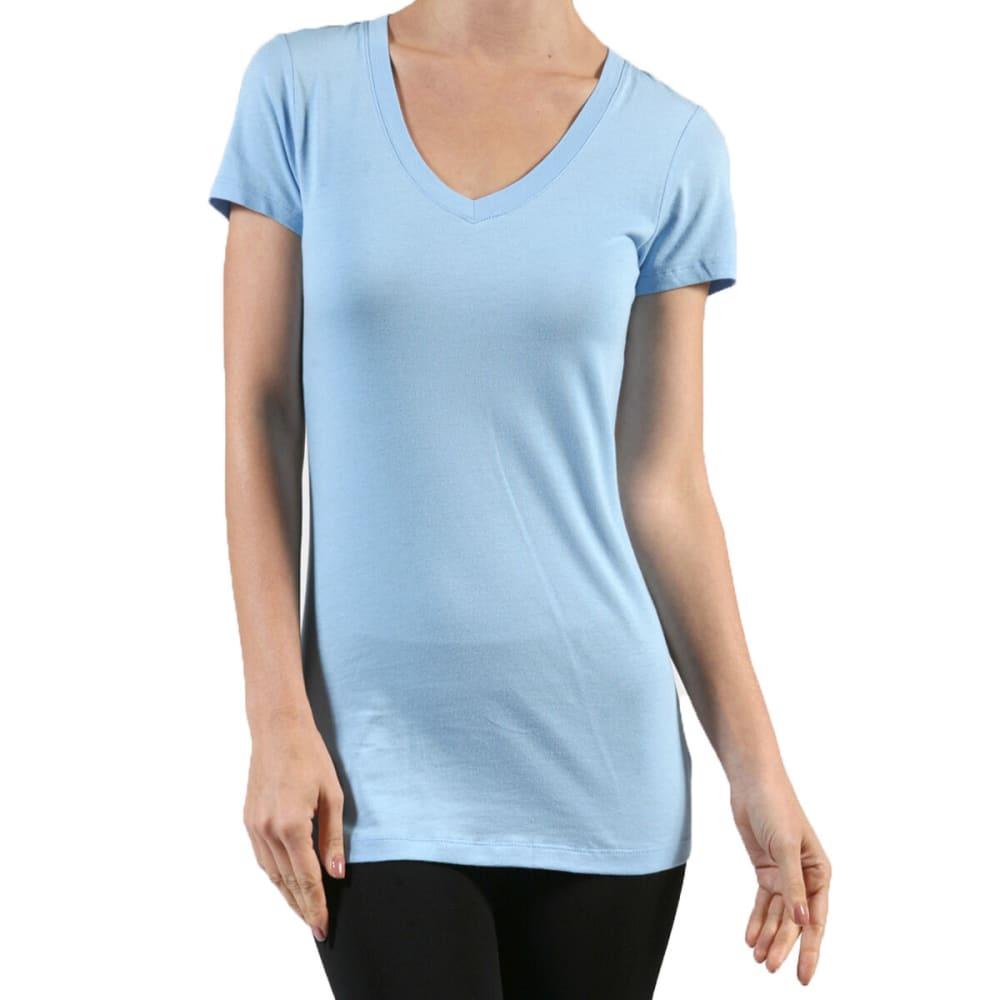 ACTIVE BASIC Junior's Plain Basic Deep V Neck T-Shirt - BLU-LIGHT BLUE