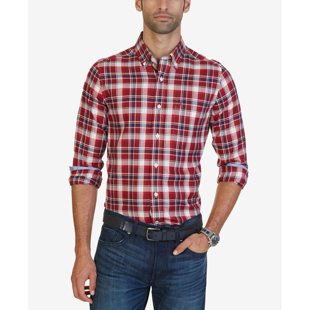 Nautica Men's Autumn Plaid Woven Long-Sleeve Shirt - Red, XXL