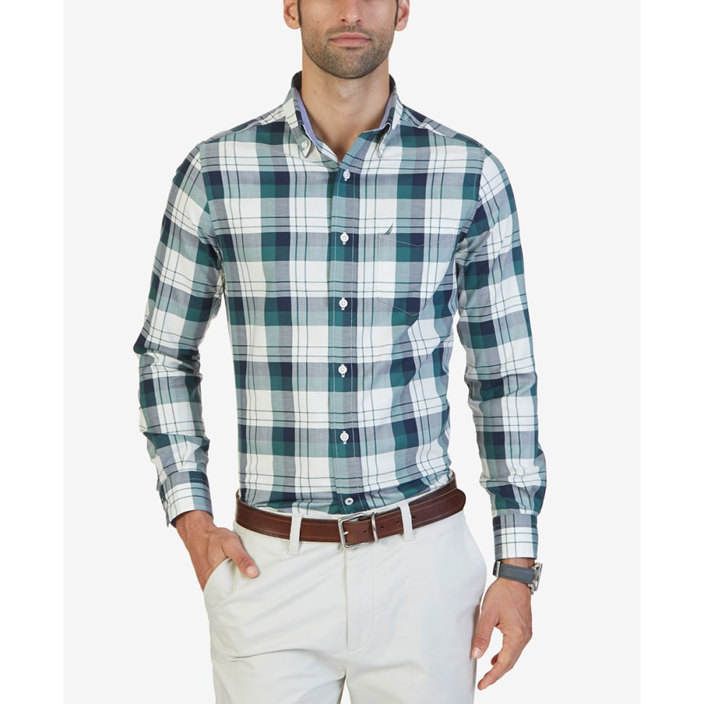 NAUTICA Men's Herringbone Woven Long-Sleeve Shirt - LAKESIDE GREEN-3LK