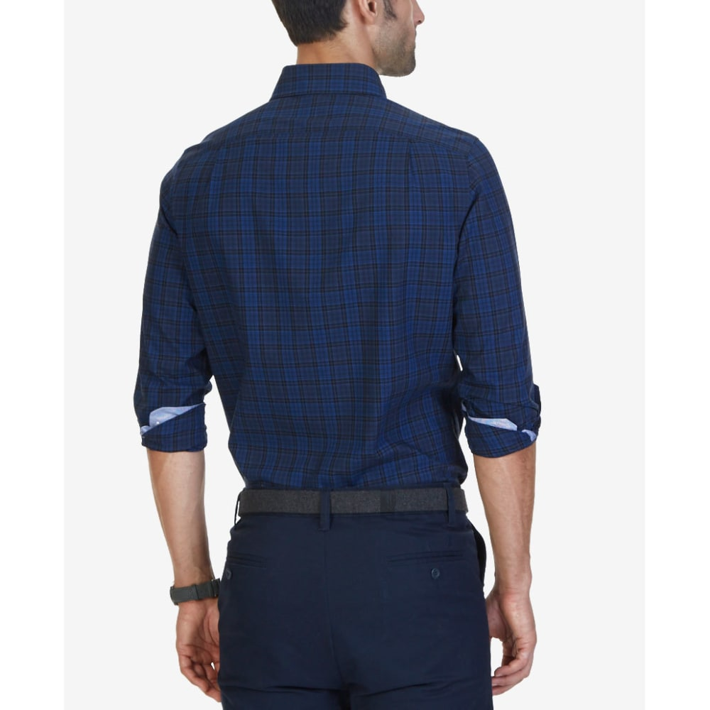 NAUTICA Men's Estate Mini Plaid Woven Long-Sleeve Shirt - ESTATE BLUE-4ES