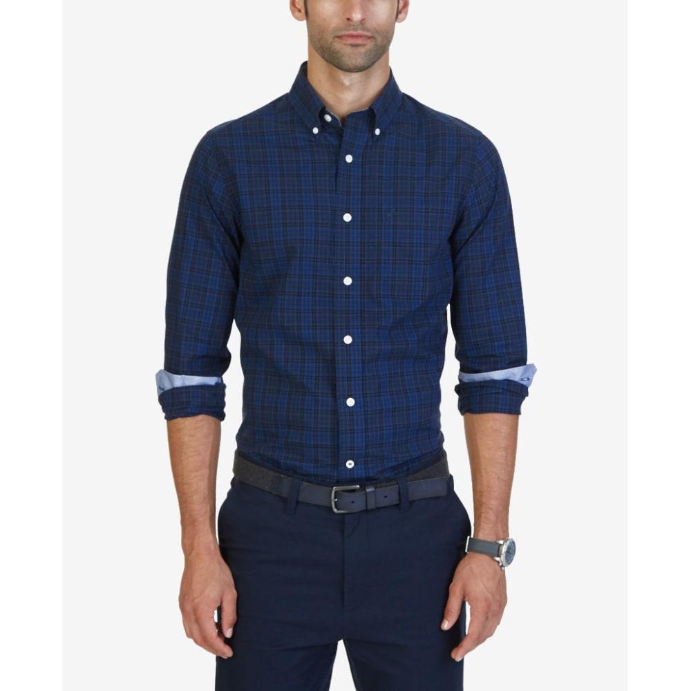 NAUTICA Men's Estate Mini Plaid Woven Long-Sleeve Shirt - ESTATE BLUE-4ES