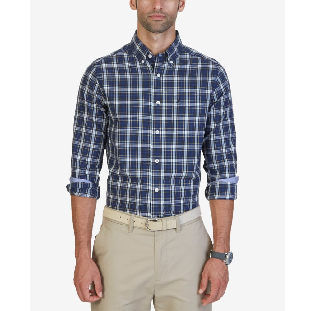 NAUTICA Men's True Plaid Woven Long-Sleeve Shirt - TRUE BLUE-4XU