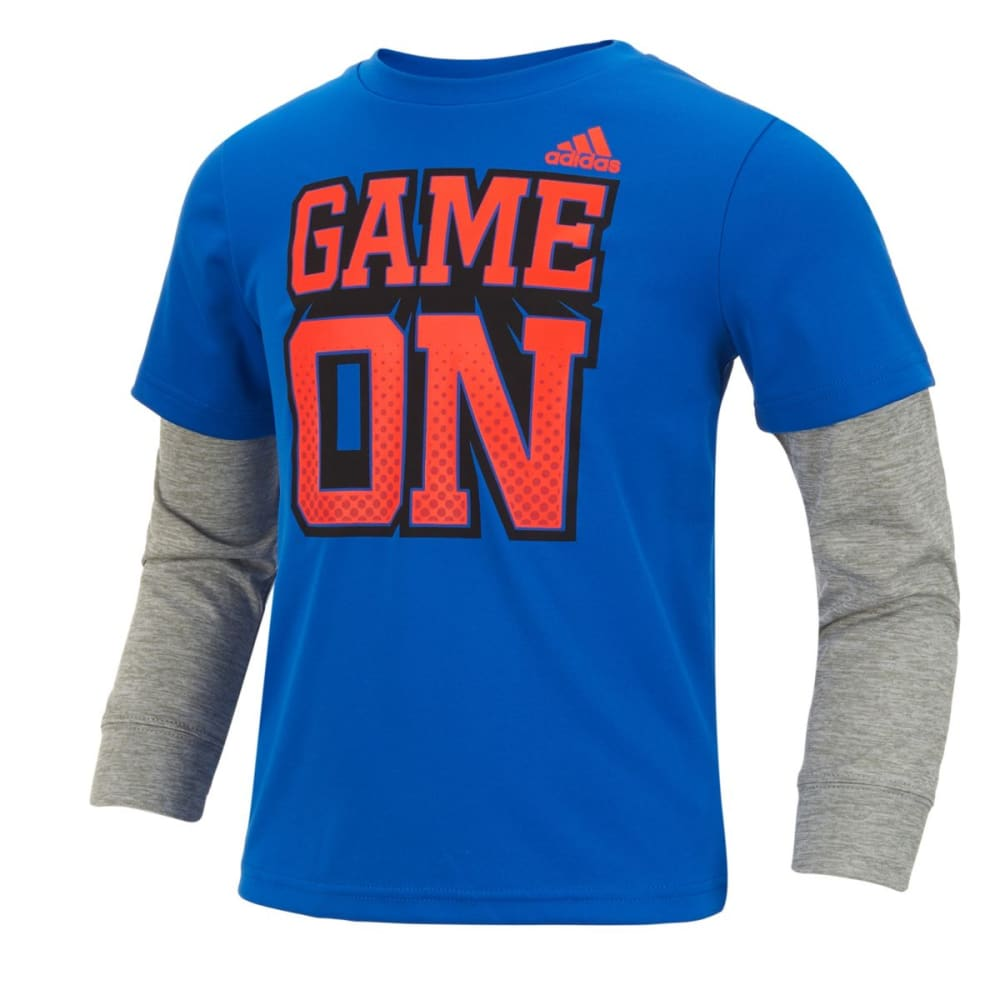 Adidas Boys Game On Long-Sleeve Tee - Blue, 4