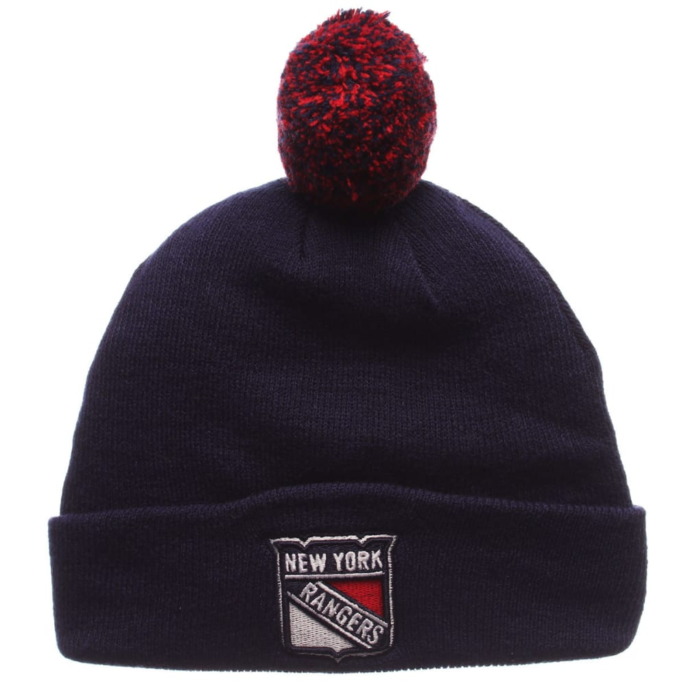 NEW YORK RANGERS Pom Cuffed Knit Hat - ROYAL BLUE